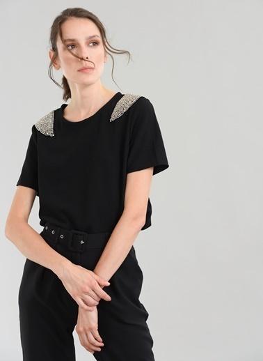 People By Fabrika Boncuk İşlemeli Bluz Siyah